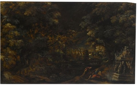 pyramus and thisbe in a moonlit wooded landscape by kerstiaen de keuninck