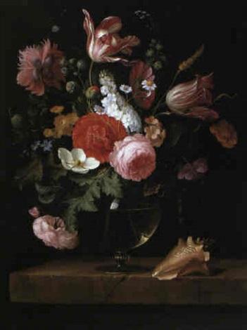 bouquet de fleurs pos sur un entablement de pierre by. Black Bedroom Furniture Sets. Home Design Ideas