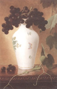 still life with vase and grapes by jacob guptil fletcher