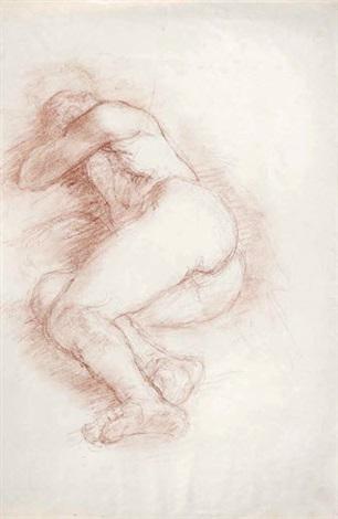 nu féminin allongé sur le côté droit les jambes repliées la tête enfouie dans le bras gauche by charles despiau