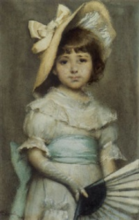 portrait of a young girl with a fan by alfred edward emslie