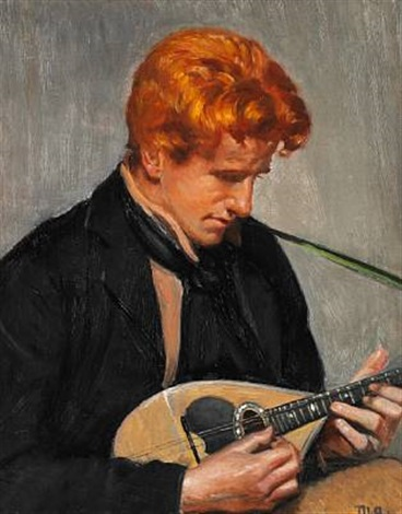 portrait of the journalist steen drewsen playing mandolin by michael peter ancher