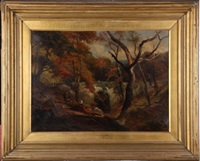 forest scene with arched bridge and four figures by edward henry holder