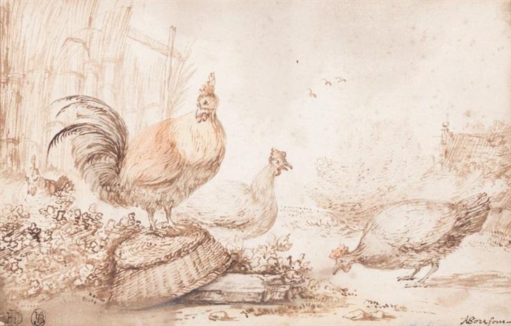 deux poules et un coq by anthonie van borssom