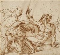 trois figures d'hommes nus, agenouillés et assis, levant les bras by baccio bandinelli