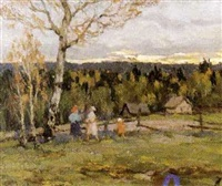 promenade à la lisière de la forêt by aleksandr andreievich gusarevich