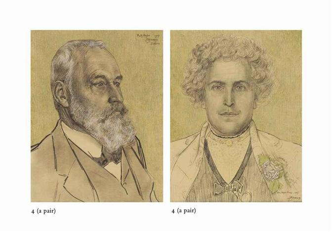 a portrait of frits meijer a portrait of his wife nina meijer fierz 2 works by jan toorop