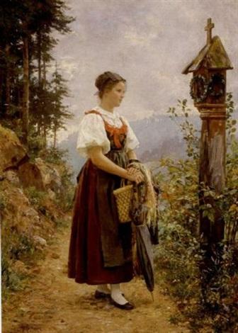 junges mädchen auf einem weg durch einen altar by wilhelm g hasemann
