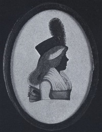 a lady (mrs. foster?) wearing dress with fichu and wide sash waistband, her powdered hair worn in a chignon and black hat with large plume by john buncombe