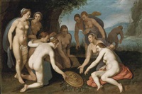perseus washing his hands after liberating andromeda and placing the head of medusa on a bed of leaves by cornelis cornelisz van haarlem