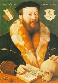 a portrait of a bearded man, wearing a fur-lined black coat and a black beret, with vanitas symbols on a wooden ledge by hermann tom ring