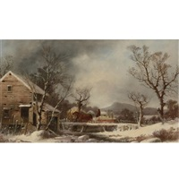 winter: the old mill by george henry durrie