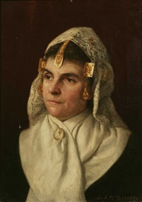 portrait of a 19th c. woman in fancy lace and gold head covering by william j. mccloskey