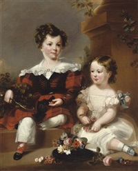 portrait of a brother and sister with flowers by scottish school (19)