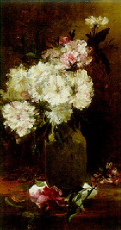 pink and white flowers on a table by alfred roudy