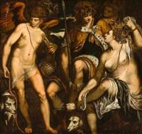 venus and adonis with amor by alessandro varotari