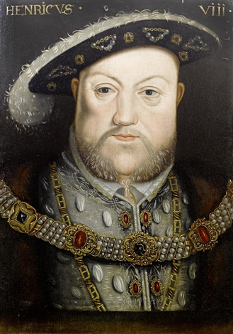 portrait of henry viii, in grey embroidered costume and a fur-trimmed mantle by hans holbein the younger