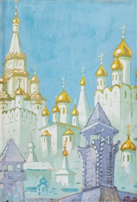 city view (churches) by fjodor ivanovitch rerberg
