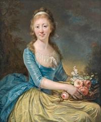 dame in gelb und blau mit einem blumenkorb by anna dorothea lisiewski