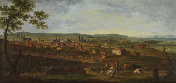 stadtpanorama in weitem flusstal (lothringen?) by jean baptiste charles claudot