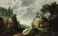 a mountainous river landscape with herdsmen near a waterfall by gillis (egidius i) peeters