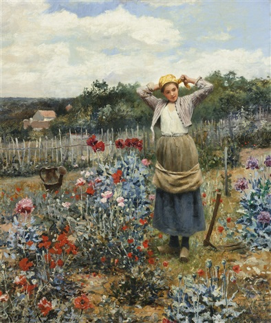 Tending the garden by daniel ridgway knight on artnet for Tending to the garden