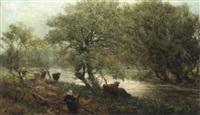 bäuerin mit kühen am waldbach by alexander young
