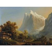 grindelwald mit wetterhorn by johann-rudolph buhlmann