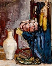 bodegón con silla, mazorca y calabaza by beatriz gurttmann