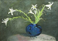blue vase with withered lilies by sabina negulescu florian