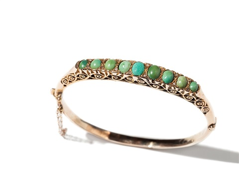 golden bangle with turquoises and diamonds around 1860