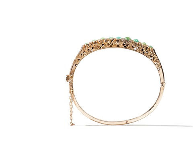 golden bangle with turquoises and diamonds around 1860