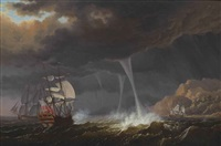 a frigate aground in west indian waters in a tropical storm with waterspouts, a british royal navy two-decker firing a signal shot and coming to her aid by olivier le may