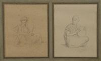 egyptiens assis (2 works) by jean-léon gérôme