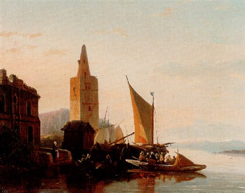 moored shipping by a lighthouse by françois jean louis boulanger