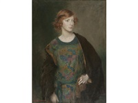 portrait of a young woman with auburn hair by henry john lintott