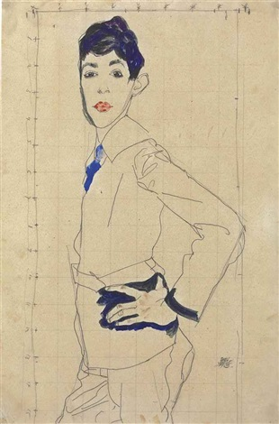 erich lederer standing with hand on hip by egon schiele