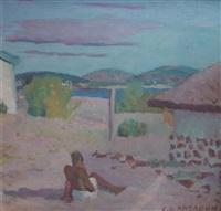 vista de punta colorada con bañista by carmelo de arzadún