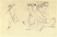 hermes conducting the souls of the suitors to the infernal region (illus. for the odyssey) by john flaxman