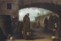 arbeitende mönche im klosterhof by giovanni facciola