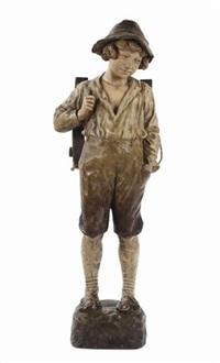 raffigurante ragazzo con portalegno sulle spalle by friedrich goldscheider
