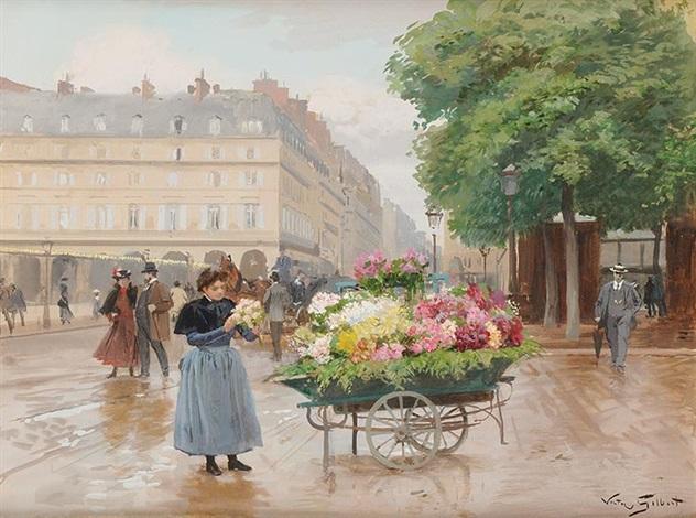 marchande de fleurs près du louvre by victor gabriel gilbert