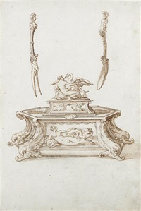 salt cellar and egg dish with leda and the swan, with a fork and spoon (design) by jacopo strada