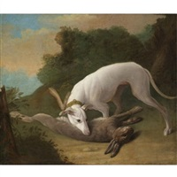 borzoi with game by johann friedrich grooth