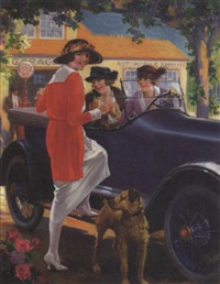 women and dog pausing for refreshing at service station by charles m. relyea
