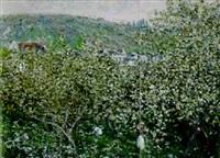vetheuil, les pruniers en fleurs by claude monet