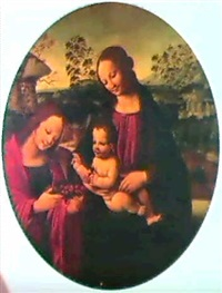 madonna and child with a female saint presenting them    with fruit by niccolo soggi