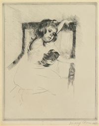kneeling in an armchair by mary cassatt