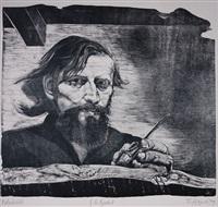 selbstporträt mit rückenakt (+ 6 others; 7 works, various dates, print media, sizes and editions) by fritz aigner