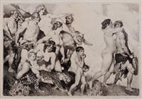 the procession (alternative title, bacchus) by norman alfred williams lindsay